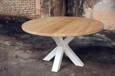 Solid oak round table in Loft style-Круглый стол из массива дуба в стиле Loft от у… Round table made of solid oak in Loft style from the Ukrainian manufacturer Waldberg - Loft Style, Solid Oak, Sweet Home, Dining Table, Loft Furniture, Furniture Design, Coffeehouse, Home Decor, Coffee Shops