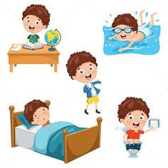 Buy Vector Illustration of Kids Daily Routine Activities by yusufdemirci on GraphicRiver. Vector Illustration Of Kids Daily Routine Activities Daily Routine Activities, Work Activities, Spanish Lessons For Kids, Tools For Teaching, School Projects, Cute Kids, Art For Kids, Preschool, Character Design