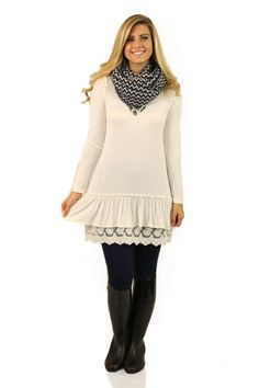 Edged In Elegance Tunic Dress in Ivory