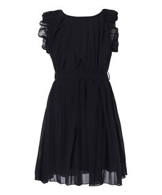 Look at this Black Ruffle Pleated Dress - Toddler & Girls on #zulily today!