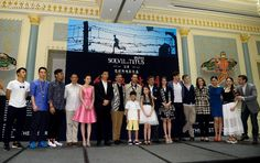 """Leading casts of the movie """"The Last Race"""" pose for a photo during the press conference in Tianjin, China, June 24, 2015.  http://www.chinaentertainmentnews.com/2015/06/press-conference-of-last-race-held-in.html"""