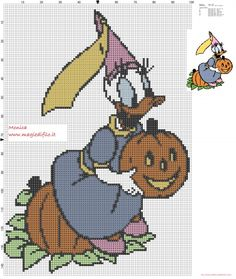 Daisy with pumpkin cross stitch pattern  (click to view)