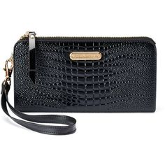 Women's Leatherbay Crocodile Accordion Wristlet Wallet ($70) ❤ liked on Polyvore featuring bags, wallets, black, fake leather wallet, genuine leather wallet, zip wallet, crocodile leather wallet and wristlet wallet