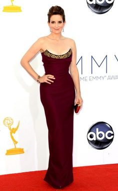 It looked better on TV than in this picture. But, nicely done, Liz Lemon. And have you ever noticed how Tina Fey always looks really uncomfortable to be dressed up.  Emmy Awards, Tina Fey