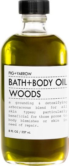Fig + Yarrow Bath & Body Oil Woods - contains certified organic ingredients. Fig + Yarrow Bath & Body Oil Woods Bath+Body Oil Woods is a grounding and detoxifying arboraceous blend for all skin types; particularly helpful for those prone to body blemishes, cellulite or skin in need of repair. Richly nutritive and detoxifying plant oils are infused with a blend of healing, nourishing and regenerating herbs to offer tremendous benefits to skin and underlying tissue.