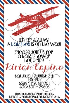 Printable Vintage Airplane Baby Shower Invitation
