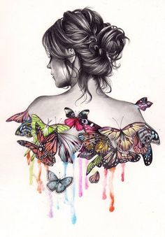 woman with a messy bun, colourful butterflies, fun and easy things to draw, white background # art Drawings ▷ 1001 + ideas for cool things to draw - photos and tutorials Girl Drawing Sketches, Girly Drawings, Pencil Art Drawings, Easy Drawings, Cool Drawings Tumblr, Drawing Ideas, Sketch Ideas, Cool Art Drawings, Drawing Art