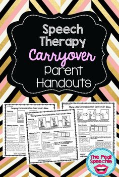 speech therapy parent handouts, perfect for speech therapy carryover!