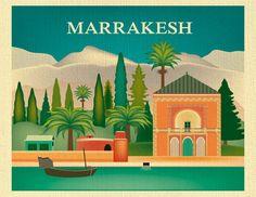 Marrakesh Skyline Art Print, Moroccan Decor, Morrocco Travel Wall Art, Marrakesh Poster, Loose Petals City Art Print Gift - style E8-O-MARR