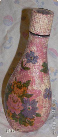 Itens de decoração Decoupage cracelures garrafas Mais garrafas de vidro decoupage Guardanapos pintura Photo 5