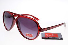 Ray-Ban Cat 4125 Deep Red Frame Gray Lens RB1186