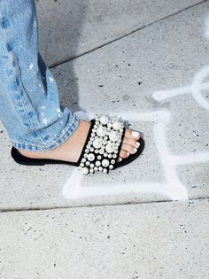 Pixie Pearl Slide Sandal   So luxe and femme, these statement velvet slides features dramatic pearl accents on the top of the foot.    * padded footbed for support