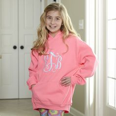 Girls Neon Pink Hooded Sweatshirt With Initials – Lolly Wolly Doodle