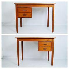 Danish Modern Teak Desk with Sliding Two Drawers