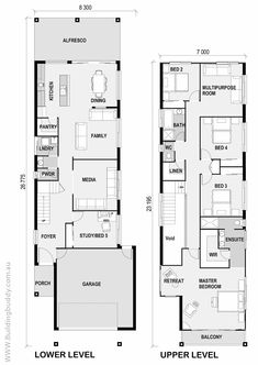 White Riceflower - Small Lot House Floorplan by http://www.buildingbuddy.com.au/home-designs-main/small-lot-house-plans/