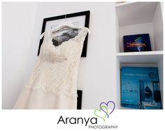Lace wedding dress. Photography by Margate wedding photographer, Sarah Khamsoda, of Aranya Photography at Beacon House, Whitstable http://www.aranyaphotography.co.uk/