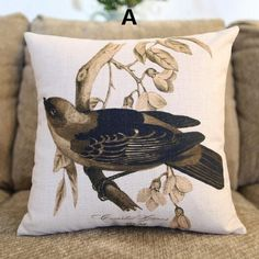 Plant bird pillow Vintage pastoral style couch cushions for home