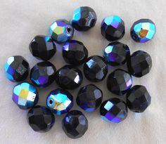 20 8mm Jet black AB Czech glass beads by GloriousGlassBeads