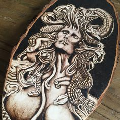 Medusa Pyrography art. One of a kind wood burning by TimberleeEU