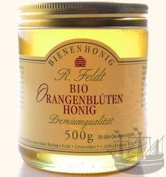 """Orangenblüten-Honig (bio). Lieblich, blumig, """"a Draum"""", wie die Fränkin in mir sagen würde.  500g, 6,90€."""