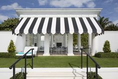 Luxury and Chic Stripes! #Stripes #outdoor ideas #greek columns Garden, black and white, luxury backyard. See more inspirations at www.luxxu.net
