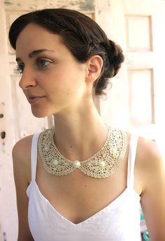 Golden crochet  peter pan collar  necklace by MySecretFace on Etsy, $29.00