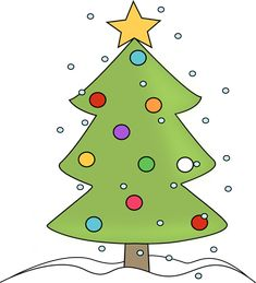 Christmas tree in the snow. I love this fun little Christmas tree and made several Christmas clip art variations with it, which can be found at MyCuteGraphics. :)