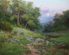 "Realistic and Impressionist landscape oil paintings by William ""Byron"" Hagerman: Featuring Texas landscapes, art classes, commissioned paintings Impressionist Landscape, Landscape Art, Landscape Paintings, Landscapes, Nature Paintings, Realistic Oil Painting, Painting People, Painting Trees, Moon Art"