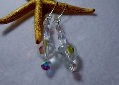 """Genuine VINTAGE RAINBOW PRISM CRYSTAL beads on sterling silver earwires. Approximately 1.25"""" long. FREE 24 hour SHIPPING USA ONLY."""