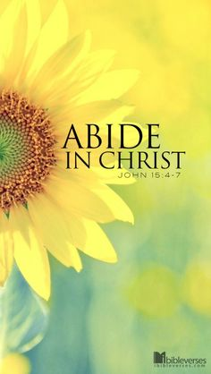 Abide in Christ/ Abide in me, and I in you. As the branch cannot bear fruit of itself, except it abide in the vine; no more can ye, except ye abide in me. I am the vine, ye are the branches: He that abideth in me, and I in him, the same bringeth forth much fruit: for without me ye can do nothing. John 15:4,5