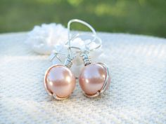 blush pink pearl earrings,light pink,bridesmaid gift, sterling silver, drop, classic