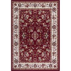Miami Bijar Classic Red 4 ft. 5 in. x 6 ft. 5 in. Traditional Area Rug