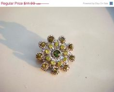 CIJ Vintage Silver flower brooch with Green by PaganCellarJewelry, $8.99