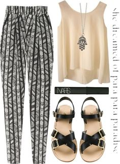 f28d31ef2701 pants loose navajo ethnic ethnic print boho bohemian bohemian style black and  white shoes blouse printed pants