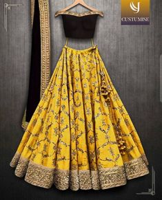 Beautiful Designer Yellow Color Lehenga with Maroon Blouse Party Wear Lehenga Choli-Bridal Lehenga Choli - Designer Dresses Couture Party Wear Lehenga, Bridal Lehenga Choli, Indian Lehenga, Party Wear Dresses, Party Outfits, Wedding Chaniya Choli, Wedding Sarees, Holiday Outfits, Tokyo Fashion