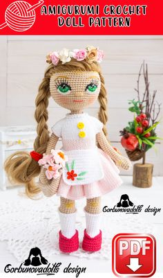 Crochet Doll Pattern - Doll Base with 3 Outfit Sets, amigurumi doll pdf, stuffed doll pattern, amigurumi tutorial, diy amigurumi doll Crochet Doll Pattern, Crochet Toys Patterns, Stuffed Toys Patterns, Crochet Designs, Handmade Dolls Patterns, Doll Patterns, Doll Tutorial, Photo Tutorial, Beginner Crochet Tutorial