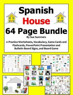 Spanish House Bundle of 14 - 64 Pages of Worksheets, Games, PowerPoint by Sue Summers - 11 worksheets, game/flashcards, board game, and Powerpoint.