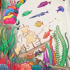 Finally finished the left half of the picture #LostOcean #johannabasford #fishes #arttherapy #adultcoloringbook
