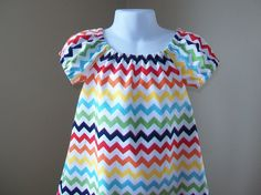 Girl's Infants Toddlers Peasant Dress - Small Rainbow Chevron. $20.00, via Etsy.  Blake Riley Chevron