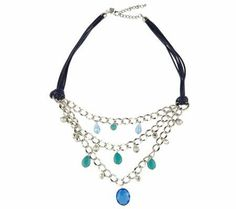 Mixed Media Leather Cord Necklace by VT Luxe — QVC.com