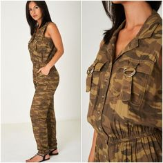 Sleeveless Camouflage Army Utility Jumpsuit Sleeveless 10 12 16 18 20 Camo NEW Camo Print, Body Shapes, Plus Size Outfits, Camouflage, Pant Jumpsuit, Military Jacket, Army, Size Clothing, Casual