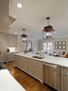 I love the greige cabinetry look. (Valspar Montpelier Ashlar Gray)