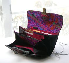 Smartphone wallet clutch - black and purples  - MADE TO ORDER