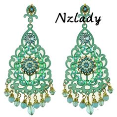 Nzlady christmas gift  womens brand logo plank green max earrings with flowers beads fashion earrings 2014 ER-010488 $6.99