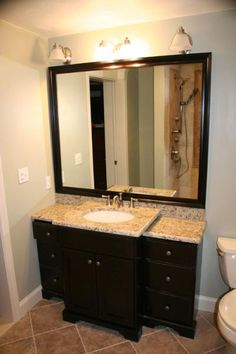 bathroom remodel? Remove cabinet and stand alone sink with this but bowl sink... & i like the floor tiles