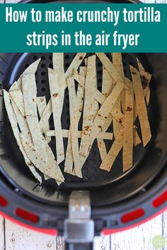 Air fryer tortilla strips are a salty, crunchy snack. They also work as tasty toppers on salads and soups. They come together in less than 10 minutes in the air fryer with minimal clean-up. So easy & kid-friendly! Air Fryer Recipes Vegetarian, Air Fryer Recipes Snacks, Air Frier Recipes, Air Fryer Recipes Breakfast, Air Fryer Dinner Recipes, Healthy Recipes, Breakfast Ideas, Healthy Foods, Air Fryer Recipes Gluten Free
