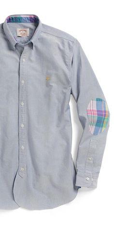 Love (!) the plaid elbow patches! #shirt #plaid #preppy #fashion