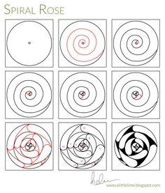 A little lime spiral rose Zentangle Drawings, Doodles Zentangles, Doodle Drawings, Doodle Art, Zen Doodle Patterns, Zentangle Patterns, Tangle Doodle, Tangle Art, Art Zen