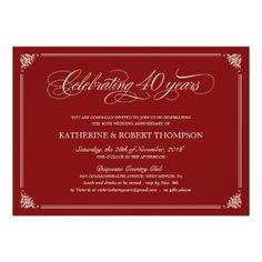 Formal Ruby 40th Anniversary Invitations
