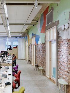 Former corset factory converted into office and events space by OkiDoki… Creative Office, Cool Office, Open Office, Modern Office Design, Contemporary Office, Office Designs, Workspace Design, Office Workspace, Commercial Design